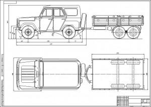 Уаз-469 с прицепом (2)